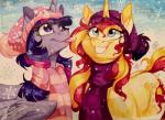 2015 cutie_mark cyan_eyes dennybutt duo equestria_girls equine female feral friendship_is_magic fur hair hat horn mammal marker_(artwork) multicolored_hair my_little_pony purple_eyes purple_fur scarf smile snow snowflake sunset_shimmer_(eg) tongue tongue_out traditional_media_(artwork) twilight_sparkle_(mlp) two_tone_hair unicorn winged_unicorn wings yellow_fur  Rating: Safe Score: 11 User: ultragamer89 Date: September 27, 2015