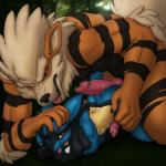 animal_genitalia anthro arcanine canine_penis duo hot_dogging knot lucario male male/male nintendo penis pokémon video_games x03   Rating: Explicit  Score: 25  User: Pokelova  Date: May 25, 2015