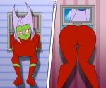 annoyed big_breasts big_butt bigtyme breasts butt butt_witch clothing female frown green_skin hair hi_res humanoid not_furry parody pink_eyes skinsuit solo stuck tight_clothing twelve_forever white_hair window  Rating: Questionable Score: 5 User: ROTHY Date: August 07, 2015