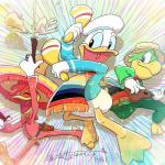 2017 2_toes 4_fingers anthro avian beak bird blue_eyes blue_sclera bottomless bow_tie chicken clothed clothing digital_drawing_(artwork) digital_media_(artwork) disney donald_duck dual_wielding duck eyes_closed feathers green_feathers group guitar gun handgun hat head_tuft hi_res holding_musical_instrument holding_object holding_weapon holster josé_carioca maracas musical_instrument open_mouth open_smile panchito_pistoles parrot pistol pork_pie_hat ranged_weapon red_feathers scarf signature smile sombrero sparkles tail_feathers tettyamansp the_three_caballeros toes tuft weapon webbed_feet white_feathers white_gloves yellow_beakRating: SafeScore: 2User: BooruHitomiDate: April 16, 2018