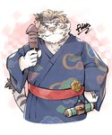 2021 absurd_res anthro blush clothed clothing cute_fangs eyewear felid food fur glasses hi_res jerry_5779 kemono licho_(tas) male mammal mask overweight overweight_male pantherine solo tiger tokyo_afterschool_summoners video_games white_body white_fur