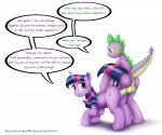anus backsack balls cutie_mark dialogue dragon duo english_text equine female feral friendship_is_magic from_behind_position fur green_eyes hair horn interspecies livriel looking_back male male/female mammal multicolored_hair my_little_pony penetration penis purple_eyes purple_fur purple_hair purple_scales raised_tail scales scalie sex simple_background slit_pupils spike_(mlp) spines text twilight_sparkle_(mlp) two_tone_hair unicorn vaginal vaginal_penetration white_background  Rating: Explicit Score: 6 User: masterwave Date: October 21, 2013