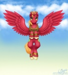 2015 big_macintosh_(mlp) cloud crown cutie_mark equine feral flying freckles friendship_is_magic green_eyes horn looking_at_viewer magpie_(artist) male mammal my_little_pony outside smile solo winged_unicorn wings   Rating: Safe  Score: 7  User: Somepony  Date: April 11, 2015