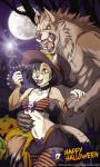 anthro canine cat clothed clothing duo facial_piercing fangs feline female halloween holidays interspecies larger_male lip_piercing magic_wand male male/female mammal nude piercing rotarr size_difference skimpy smaller_female were werewolf wolf  Rating: Safe Score: 33 User: ippiki_ookami Date: September 22, 2013