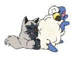 ambiguous_gender canine caprine duo eyes_closed feral hyena low_res mammal mareep nintendo pokémon poochyena sheep simple_background sitting video_games white_background  Rating: Safe Score: 1 User: MiblicTheMany Date: July 17, 2012