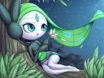 2017 blue_eyes bottomless clothed clothing english_text female flower grass green_hair hair humanoid legendary_pokémon masterploxy meloetta nintendo not_furry open_mouth petals plant pokémon solo text tongue tree video_games watermark white_skin wide_hipsRating: SafeScore: 18User: GameManiacDate: April 07, 2017