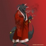 anthro canine clothed clothing fur gompriest grey_fur hair japanese_clothing katana kimono male mammal melee_weapon open_shirt pipe ponytail red_eyes samurai shirt smoke smoking smoking_pipe solo sword weapon wolf wristband