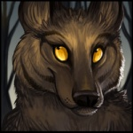 ambiguous_gender black_lips black_nose bust_portrait canine dark_fur fur inner_ear_fluff kitfoxfire long_mouth looking_up low_res mammal no_sclera outside portrait sky snout solo tree yellow_eyes
