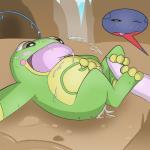 3_toes blush cum cum_in_ass cum_in_mouth cum_inside cum_on_face cum_on_stomach digital_media_(artwork) erection feral foot_fetish footjob gabite hi_res male male/male nintendo pawn penis pokémon politoed sex toes tongue tongue_out video_games