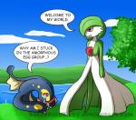 crying dialogue distracting_watermark duo eelektross english_text gardevoir nintendo outside pokémon red_eyes saccharo_kirby standing tears text tree video_games watermark  Rating: Safe Score: 1 User: Rad_Dudesman Date: September 04, 2015