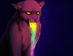 2011 akirah brown_fur digital_media_(artwork) falvie feline feral fur humor male mammal panther plain_background purple_nose rainbow solo technicolor_yawn teeth vomit whiskers yellow_eyes   Rating: Safe  Score: 103  User: slyroon  Date: September 22, 2011