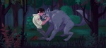 blood brown_hair canine clothing duo forest hair human kneeling male mammal night nude outside scratches torn_clothing tree vi_pham were werewolf wild wolf   Rating: Questionable  Score: 2  User: H4CH1W4AN  Date: February 06, 2013