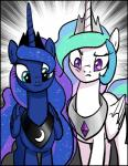 2016 blue_eyes blue_feathers blue_fur clothed clothing duo equine feathered_wings feathers female feral friendship_is_magic frown fur hair hi_res horn horse looking_down mammal multicolored_hair my_little_pony pencils_(artist) pony princess_celestia_(mlp) princess_luna_(mlp) purple_eyes smile white_feathers white_fur winged_unicorn wings