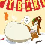anthro balls big_balls birthday breasts brown_fur brown_hair clothing cock_vore cum cum_vore dialogue dickgirl fur green_eyes hair huge_balls hyper hyper_balls implied_digestion intersex legwear mammal nipples nude pandaren panties pashoo penis qin_(character) red_panda slightly_chubby socks solo sound_effects underwear video_games vore warcraft white_fur