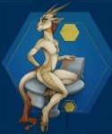 2012 ambiguous_gender antelope armband blue_background brown_hair chair dragon e621 ear_piercing ecmajor flat_chested green_eyes hair hooves horn hybrid looking_at_viewer mascot nude piercing plain_background pose signature sitting solo   Rating: Safe  Score: 20  User: ippiki_ookami  Date: December 07, 2012