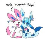 duo eeveelution glaceon nintendo pokémon ribbons robosylveon simple_background sylveon video_games