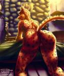 anthro anus bed candle close-up dado463art felid feline female fur hi_res light looking_at_viewer mammal medieval old rock skyrim slim solo the_elder_scrolls video_games