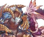 abs ambiguous_gender anthro biceps blue_eyes capcom claws dragon duo eye_contact fanged_wyvern feral hand_on_thigh jacketbear leviathan licking male monster_hunter muscular pecs pink_eyes simple_background smile tamamitsune tongue tongue_out video_games white_background wyvern zinogre 山藥人  Rating: Questionable Score: 10 User: e17en Date: November 23, 2015
