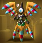1_eye anthro areola blue_eyes breasts brown_background digital_media_(artwork) elpatrixf eyelashes female hi_res navel nintendo nude pokémon pussy sigilyph simple_background solo video_games