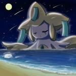 ambiguous_gender cute eyes_closed giant humanoid jirachi legendary_pokémon moon night nintendo outside pokémon sea shooting_star sky solo star starry_sky video_games water yufika  Rating: Safe Score: 1 User: slyroon Date: August 10, 2014