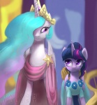 2015 clothing crown dress duo equine female feral friendship_is_magic horn mammal my_little_pony princess_celestia_(mlp) raikoh-illust twilight_sparkle_(mlp) winged_unicorn wings  Rating: Safe Score: 14 User: Robinebra Date: May 18, 2015