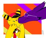 2019 4_fingers ampharos clothed clothing cuchufleh_(character) dittozard duo eminto emito_(character) eyewear feral fingers glasses hat headgear headwear hi_res horn kissing male necktie nintendo partially_clothed pokémon pokémon_(species) purple_body purple_skin signature simple_background video_games