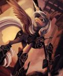 armor black_eyes crown cutie_mark equine feathered_wings female feral friendship_is_magic fur grey_fur grey_hair hair hi_res horn magic mammal my_little_pony open_mouth outside ponykillerx princess_luna_(mlp) signature solo spread_wings sword weapon winged_unicorn wings   Rating: Safe  Score: 27  User: Jatix  Date: November 30, 2013