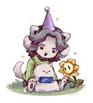 ambiguous_gender annoying_dog_(undertale) clothed clothing feral flowey_the_flower grass group hair handheld_console hat headgear headwear mammal party_hat semi-anthro tem temmie_(undertale) undertale video_games white_body