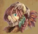 2015 audrarius blue_eyes equine face_paint fangs feather female fluttershy_(mlp) friendship_is_magic gold hair looking_at_viewer mammal my_little_pony piercing pink_hair portrait sharp_teeth skill solo teeth   Rating: Safe  Score: 16  User: 2DUK  Date: April 10, 2015