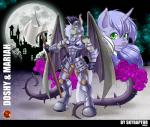 2015 absurd_res anthro anthrofied armband armor axe bat_pony bat_wings battle_axe big_weapon blue_hair bracers breastplate castle clothing duo equine fan_character female flower friendship_is_magic furgonomics gauntlets gem gloves glowing greaves green_eyes hair helmet hi_res horn hybrid male mammal mariah_wolves melee_weapon membranous_wings moon my_little_pony night pegasus plant polearm rose royal_guard_(mlp) skyraptor spiked_tail spikes standing tentacles unicorn weapon wings