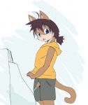 anthro cat child cub feline male mammal peeing penis simple_background solo uncut urinal urine young 蛸山葵つるべ  Rating: Explicit Score: 1 User: israfell Date: April 20, 2016