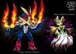 2014 anthro anthrofied avian beak black_background black_fur blue_eyes blue_feathers canine claws delphox duo english_text fan_character feathered_wings feathers featureless_crotch female fire fox fur fusion green_fur green_hair hair humanoid hybrid male mammal mega_blaziken mega_evolution mega_gardevoir nintendo nude pokémon pokémorph red_eyes red_feathers red_fur signature simple_background smile swellow text tigerlilylucky toe_claws video_games white_feathers white_fur wings yellow_feathers yellow_fur