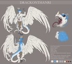 3_fingers anthro claws clothing crystal digitigrade drackonthanri dragon english_text feathered_wings feathers fingers forked_tongue hi_res honovyart horn invalid_tag loincloth male model_sheet pawpads scales teeth text tongue wings