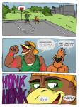 abs anthro avian basketball beak clothed clothing comic court duo english_text grin hyperfalcon male muscles pecs regdeh rthur shout text traffic   Rating: Safe  Score: 0  User: xes  Date: April 24, 2014