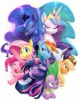2015 applejack_(mlp) cowboy_hat dragon equine female fluttershy_(mlp) friendship_is_magic fur green_eyes group hair hat horn horse mammal multicolored_hair my_little_pony pegasus pink_hair pinkie_pie_(mlp) pony princess_celestia_(mlp) princess_luna_(mlp) purple_eyes purple_fur purple_hair rainbow_dash_(mlp) rainbow_hair rarity_(mlp) red_eyes scalie slit_pupils sparkles spike_(mlp) sunibee twilight_sparkle_(mlp) two_tone_hair unicorn winged_unicorn wings  Rating: Safe Score: 18 User: 2DUK Date: September 22, 2015