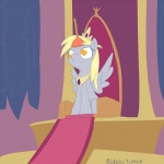alasou amber_eyes blonde_hair chair crown derpy_hooves_(mlp) digital_media_(artwork) equine female feral friendship_is_magic fur grey_fur hair long_hair mammal my_little_pony pegasus plunger royalty sitting solo thrown wings yellow_eyes  Rating: Safe Score: 18 User: Deatron Date: September 28, 2013