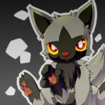 ambiguous_gender big_eyes feral fur grey_fur hyena mammal nintendo okunawa paws pokémon poochyena red_eyes solo video_games