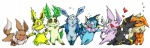 eevee eeveelution eeveelutions espeon flareon glaceon jolteon kyounoikenie leaf_tail leafeon nintendo plain_background pokémon umbreon vaporeon video_games white_background   Rating: Safe  Score: 1  User: robyn_chaos  Date: August 16, 2010