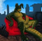 anthro anthrofied balls big_balls big_penis daftpatriot deathclaw digital_media_(artwork) erection fallout hi_res horn long_foreskin long_penis male nude outside penis reclining scalie signature sitting sofa solo spread_legs spreading thick_penis uncut video_games  Rating: Explicit Score: 33 User: Circeus Date: January 04, 2016