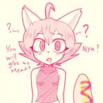 2019 anthro bodily_fluids clothed clothing dialogue digital_media_(artwork) domestic_cat drooling english_text felid feline felis female food hair hypnosis jessie-katcat_(artist) loli mammal meat mind_control open_mouth saliva sausage short_hair simple_background solo standing text topwear young