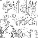 1:1 antlers backpack bicycle bovid caprine cervid clothed clothing comic dialogue flirting forest group horn lagomorph leporid mammal monochrome pinch rabbit sheep slypon tree truck_(vehicle) vehicle