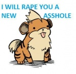blank_stare canine english_text growlithe imminent_rape looking_at_viewer low_res male mammal nintendo pokémon pokémon_(species) solo text tongue unknown_artist video_games