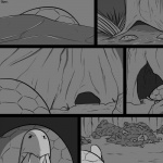 1:1 ambiguous_gender cave clothing comic digital_drawing_(artwork) digital_media_(artwork) feral forest greyscale group monochrome nest night reptile scalie shell slypon solo_focus tree turtle