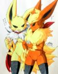 anthro anthrofied black_sclera cellphone chest_tuft clothing eeveelution featureless_crotch female flareon fur japanese_text jinya jolteon legwear nintendo phone pokémon pokémon_(species) red_fur stockings text traditional_media_(artwork) tuft video_games white_fur yellow_fur あかばね_じん