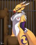 anthro arms_behind_back ball_gag bandai bars bdsm black_nose blue_eyes bondage bound breasts chest_tuft claws collar digimon facial_markings female fur gag gloves joseluisbelmont looking_at_viewer markings navel nipples nude pussy pussy_juice renamon solo tuft white_fur wooden_horse   Rating: Explicit  Score: 20  User: ChestFox  Date: March 23, 2014