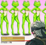 amphibian anthro bandanna beast-gamer's_sigh blush breasts english_text eye_patch eyewear female frog frogs_(metal_gear) gradient_background green_skin group hair hand_on_hip high_heels human humor kerotan looking_away male mammal metal_gear meter old parody simple_background smile solid_snake text video_games what white_hair  Rating: Questionable Score: 1 User: ROTHY Date: September 03, 2015