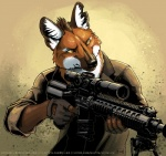2014 anthro armor black_fur black_hair brown_fur brown_hair canine clothing dirt dust fox fur gloves gun hair looking_away male mammal multicolored_fur multicolored_hair orange_fur orange_hair ranged_weapon rifle scope simple_background skitalets sniper sniper_rifle solo suit watermark weapon white_fur white_hair yellow_eyes  Rating: Safe Score: 18 User: slyroon Date: March 29, 2016