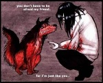 ambiguous_gender black_hair blood canine creepy creepypasta dog duo english_text grin hair human husky jeff_the_killer low_res mammal smile smile.dog source_request teeth text unknown_artist  Rating: Safe Score: 12 User: Theemokid123 Date: November 21, 2012""