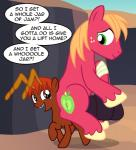 2017 ant ant_pony arthropod badumsquish bandage big_macintosh_(mlp) dialogue duo fan_character feral friendship_is_magic gap_teeth grin happy insect looking_back monster my_little_pony riding safe six_legs smile woundedRating: SafeScore: 5User: 2DUKDate: March 29, 2017