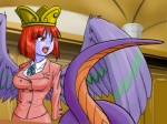 ace_attorney baalsama blue_body blue_skin breasts capcom crown fangs feathered_snake feathered_wings feathers female formal hair humanoid lamia lawyer monster_girl_(genre) non-mammal_breasts objection! open_mouth parody red_hair reptile scalie serpentine short_hair snake solo supon video_games wings